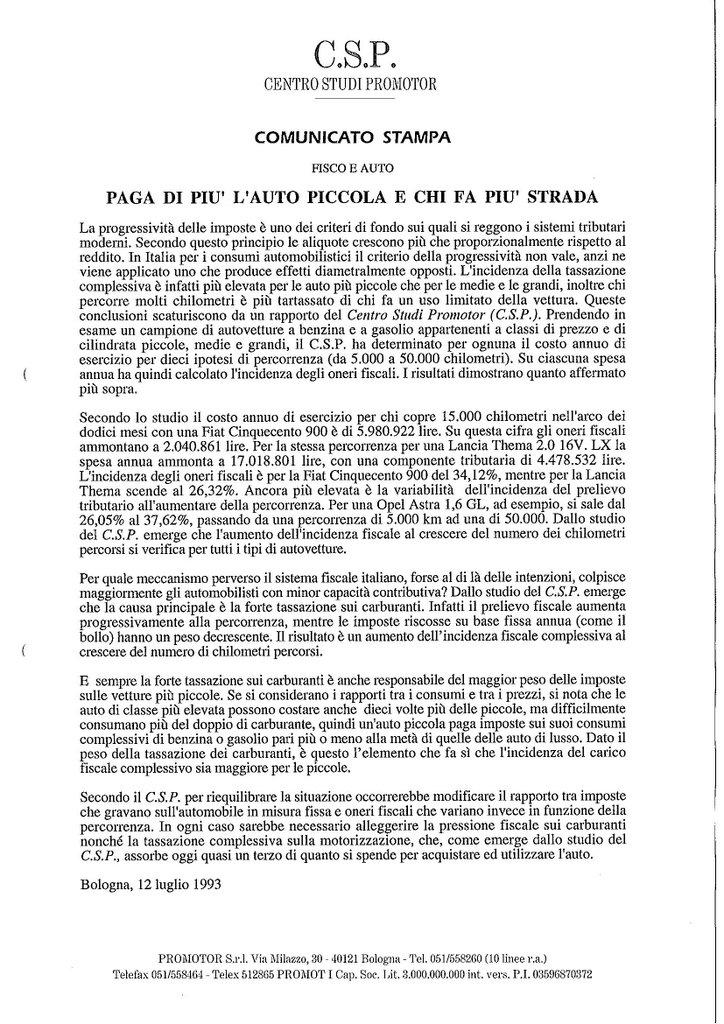 CSP - PAGA DI PIU' L'AUTO PICCOLA E CHI FA PIU' STRADA