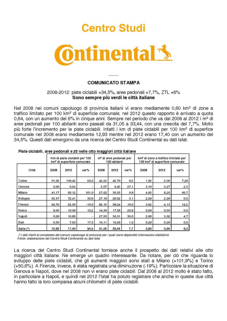Centro Studi Continental-Sono sempre più verdi le città italiane