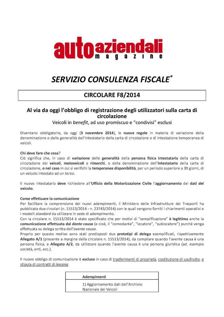 CircolareAAM - Obbligo di registrazione degli utilizzatori sulla carta di circolazione