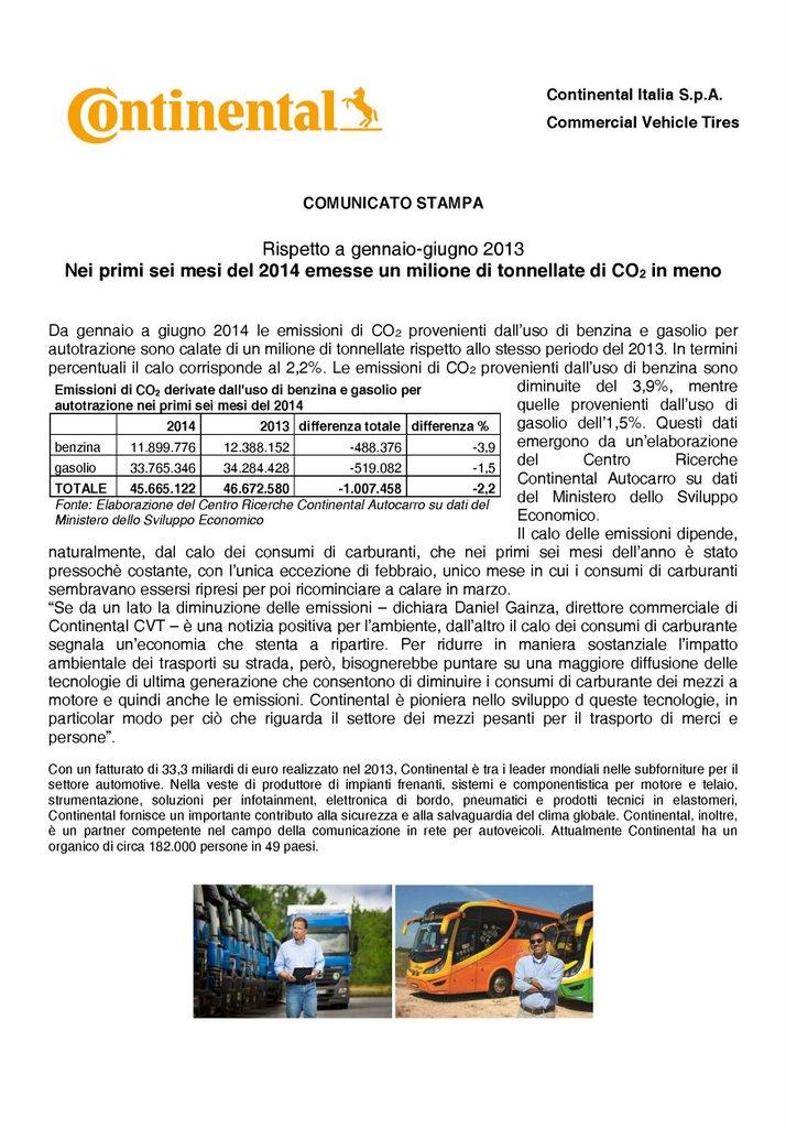 Continental - Nei primi sei mesi del 2014 emesse un milione di tonnellate di CO2 in meno