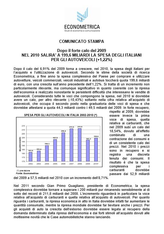 Comunicato stampa – Spesa degli italiani per l'auto
