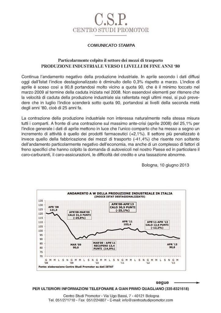 CSP - PRODUZIONE INDUSTRIALE VERSO I LIVELLI DI FINE ANNI '80