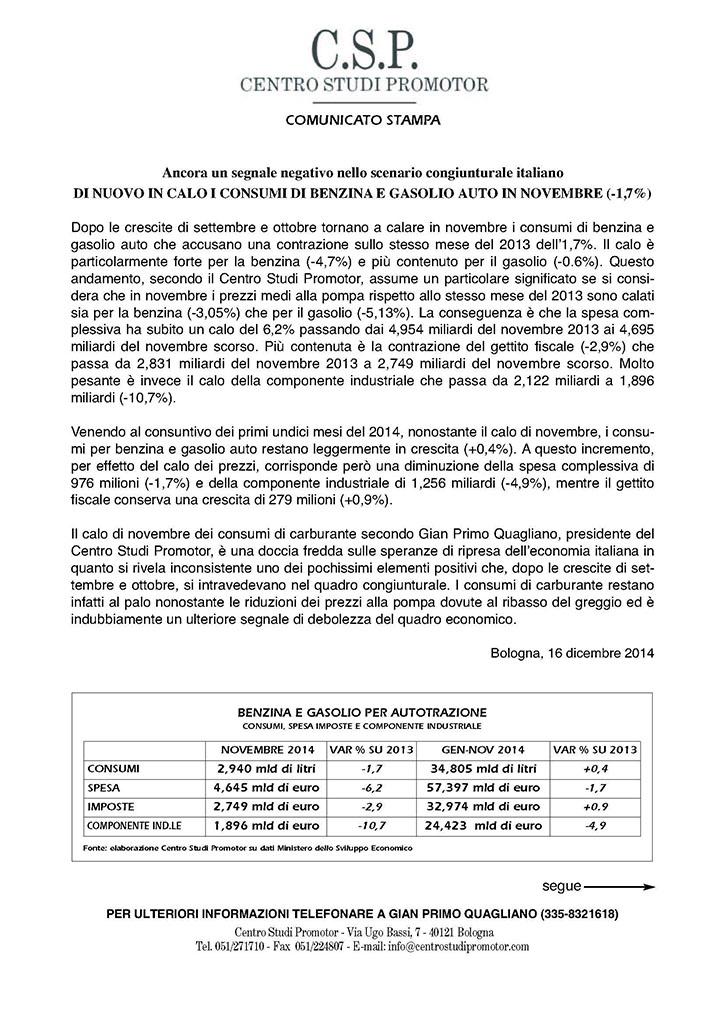 CSP - DI NUOVO IN CALO I CONSUMI DI BENZINA E GASOLIO AUTO IN NOVEMBRE (-1,7%)