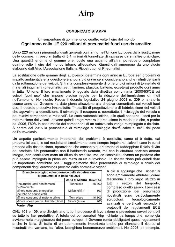 AIRP - Ogni anno nella UE 220 milioni di pneumatici fuori uso da smaltire