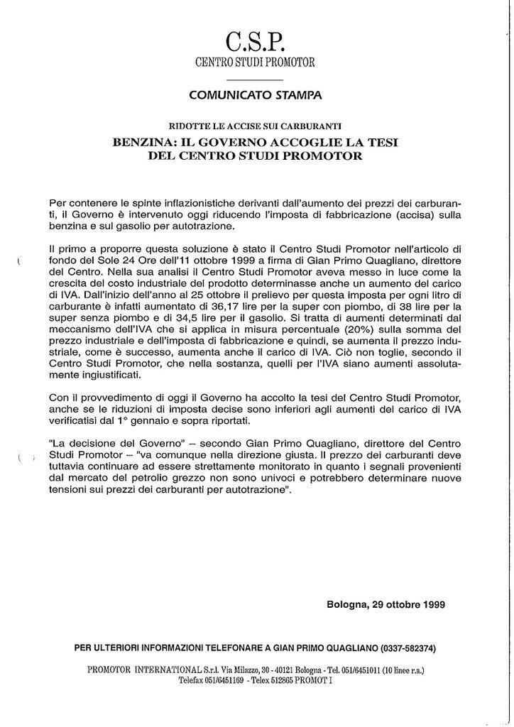 CSP - BENZINA, IL GOVERNO ACCOGLIE LA TESTI DEL CENTRO STUDI PROMOTOR