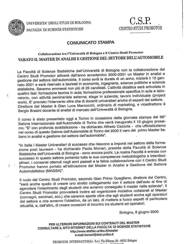 CSP - VARATO IL MASTER IN ANALISI E GESTIONE DEL SETTORE DELL'AUTOMOBILE