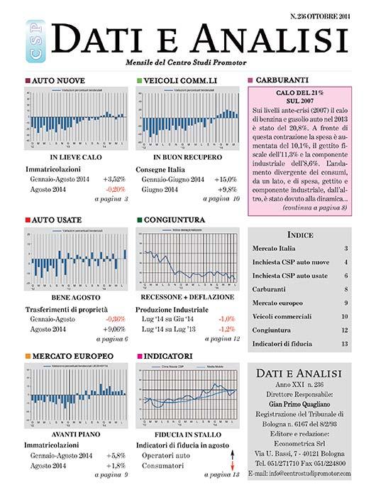 Dati e Analisi, mensile del Centro Studi Promotor, edito dal 1993 (centrostudipromotor.it/dati-e-analisi-auto )</strong