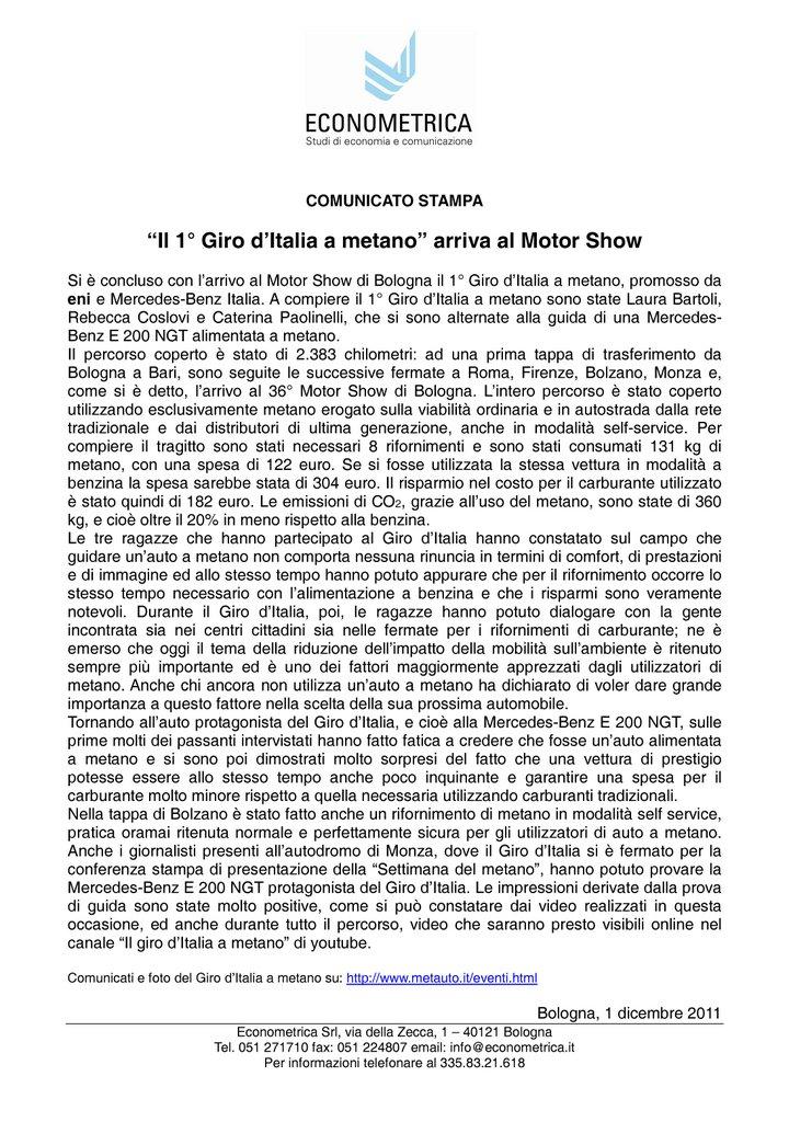 Econometrica - Giro d'Italia a metano