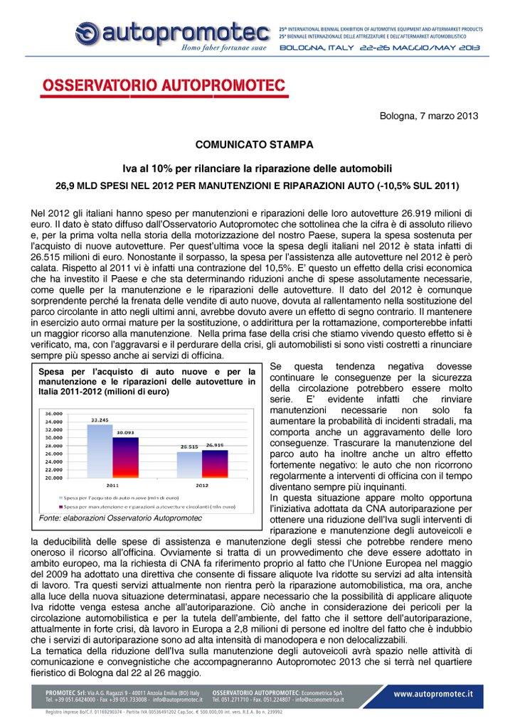 Osservatorio-Autopromotec-26,9 MLD SPESI NEL 2012 PER MANUTENZIONI E RIPARAZIONI AUTO (-10,5_ SUL 2011)
