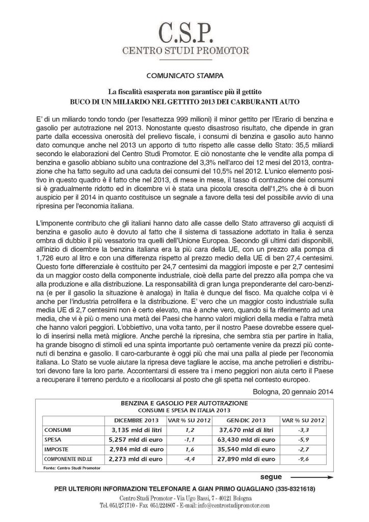 CSP - BUCO DI UN MILIARDO NEL GETTITO 2013 DEI CARBURANTI AUTO