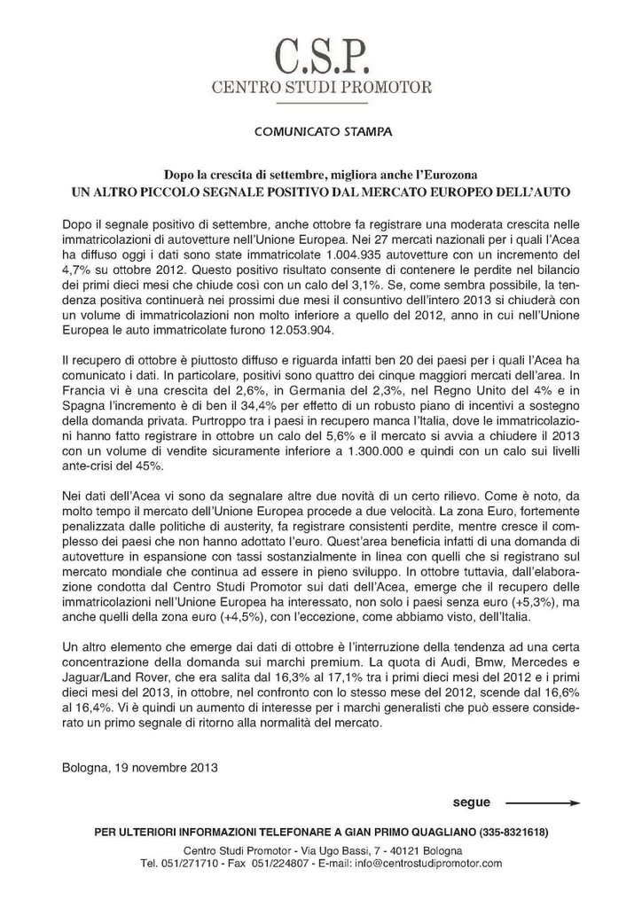 CSP - UN ALTRO PICCOLO SEGNALE POSITIVO DAL MERCATO EUROPEO DELL'AUTO